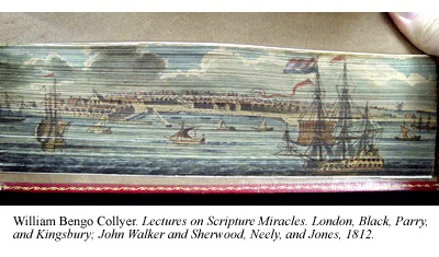 William Bengo Collyer's Lectures on Scripture Miracles, featuring a fine fore-edge painting of a harbor scene in which several ships are under sail