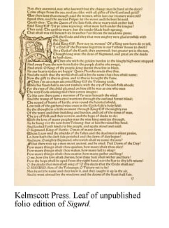 A leaf from the unpublished folio edition of Sigurd, by the Kelmscott Press