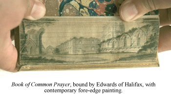 Book of Common Prayer, bound by Edwards of Halifax, featuring a contemporary fore-edge painting