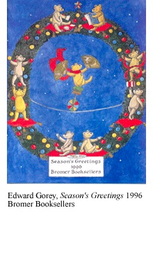 Season's Greetings catalogue produced by Bromer Booksellers, with cover design by Edward Gorey