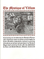 THE MYSTIQUE OF VELLUM, by Richard Bigus, Decherd Turner, Colin Franklin, and Anne Bromer, regular edition title page