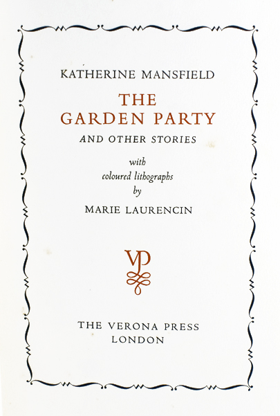 The Garden Party And Other Stories Katherine Mansfield