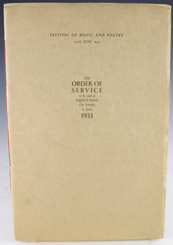 An Order of Service to be used at Gregynog On Sunday 25 June 1933.
