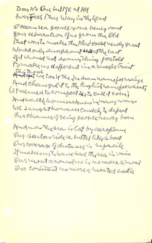 """Autograph Manuscript, Signed: """"Does No One but Me at All Ever Feel This Way in the Least?"""" Robert Frost."""