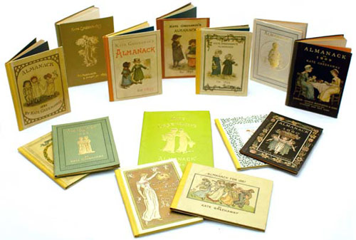 A complete set of Kate Greenaway's Almanacks for 1883-1895, 1897. Kate Greenaway.