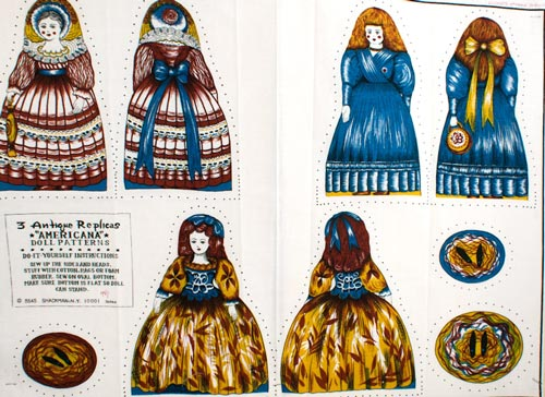 "3 Antique Replicas: ""Americana"" Doll Patterns."