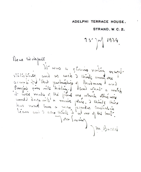 Autograph letter, signed, together with The Allahakbarries C. C. J. M. Barrie.