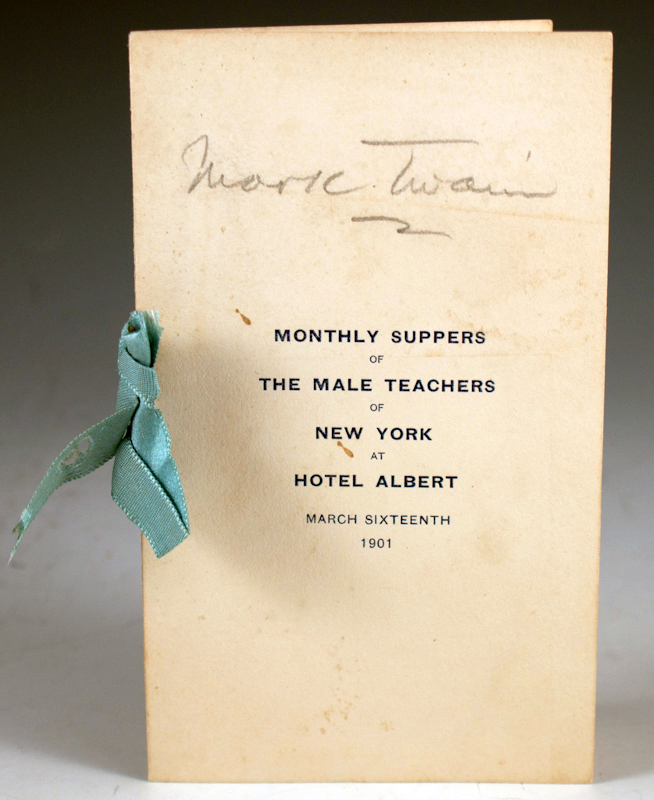 Monthly Suppers of the Male Teachers of New York at Hotel Albert. Samuel L. Clemens.