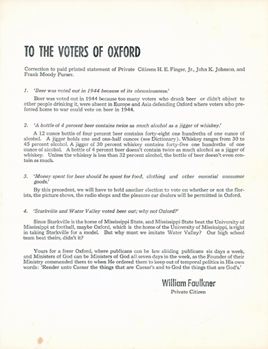 To the Voters of Oxford. William Faulkner.