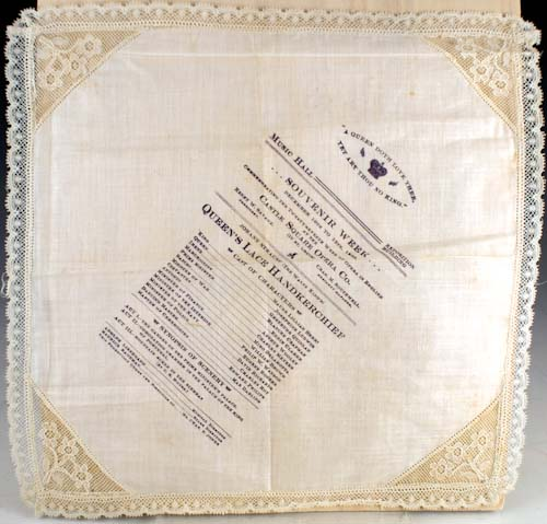 Theater program for Queen's Lace Handkerchief printed on lace handkerchief. Johann Strauss.