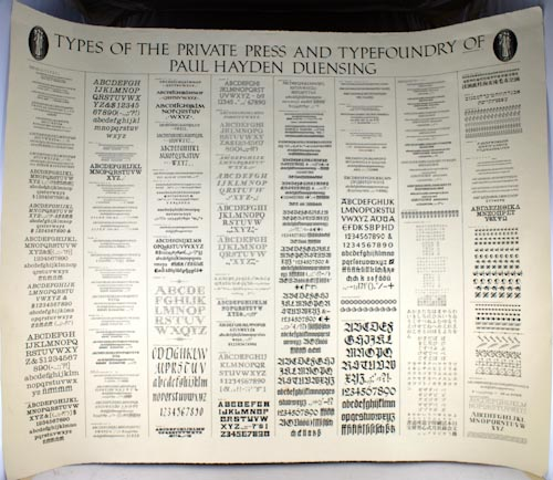 """""""Types of the Private Press and Typefoundry of Paul Hayden Duensing"""""""