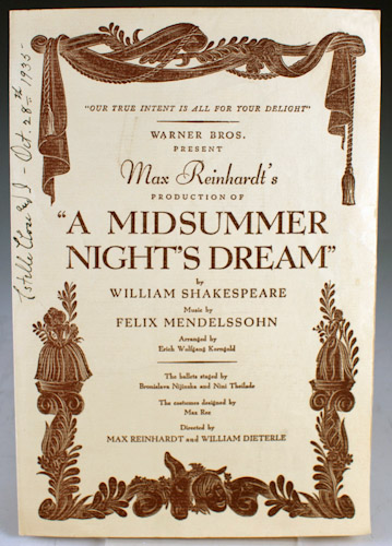 """Program from Max Reinhardt's Production of """"A Midsummer Night's Dream"""" William Shakespeare."""