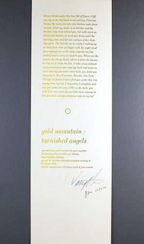 Gold Mountain: Tarnished Angels. Paul Vangelisti.