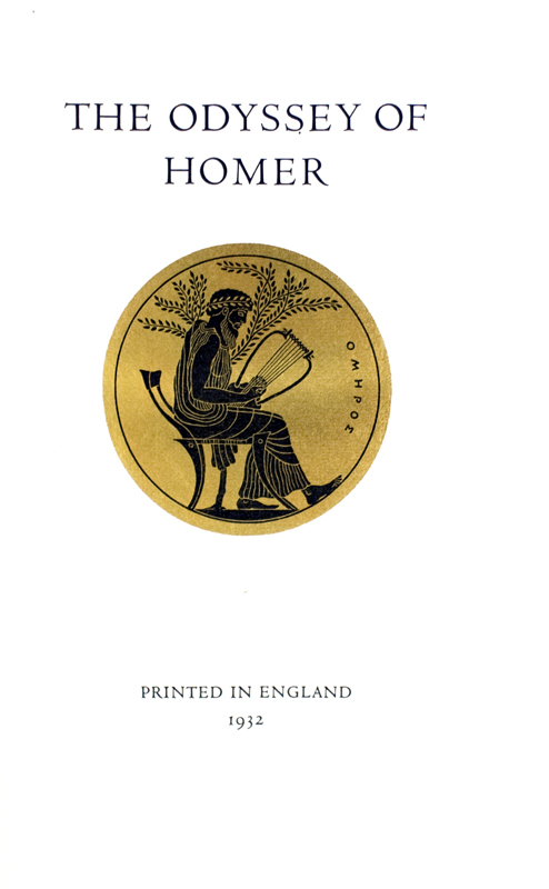 The Odyssey of Homer. Translated by T. E. Lawrence with a three-page note by him at the end of the text. Homer.