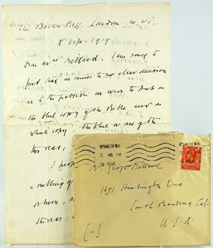 Letter from T. J. Cobden Sanderson to George Millard. T. J. Cobden-Sanderson.