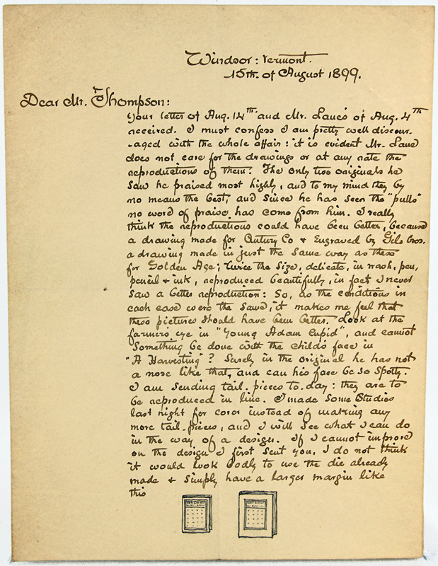 Letter from Maxfield Parrish to Mr. Thompson, August 15, 1899. Maxfield Parrish.