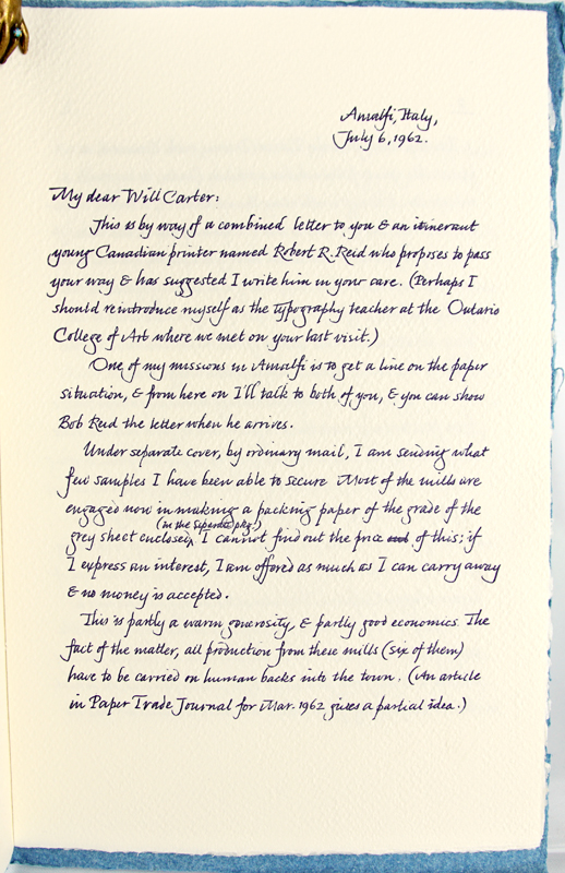 A Letter from Carl Dair about the Paper Mills of Amalfi, Italy. Carl Dair.