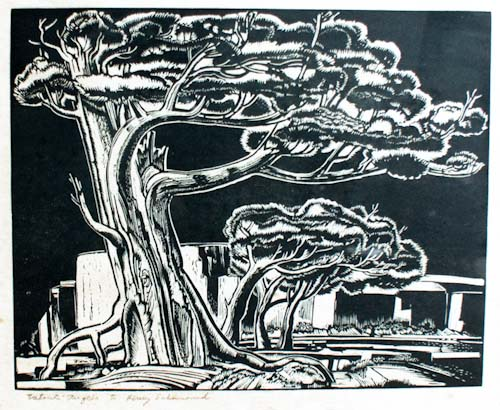Linoleum block print of a Western fir tree.