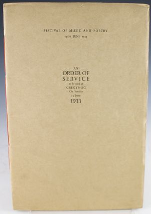 An Order of Service to be used at Gregynog On Sunday 25 June 1933
