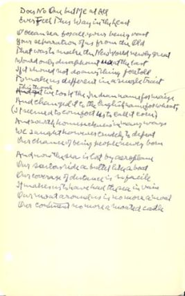 "Autograph Manuscript, Signed: ""Does No One but Me at All Ever Feel This Way in the Least?"" Robert Frost."