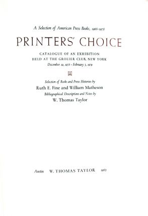 Printer's Choice: A Selection of American Press Books, 1968-1978.