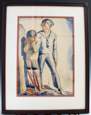 "Original painting: ""Sailor's Farewell,"" together with autograph book. Rockwell Kent."