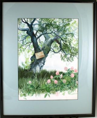 Original watercolor painting of a tree.