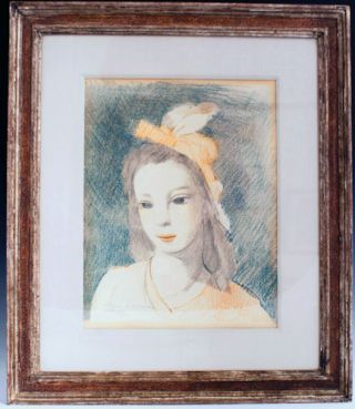Color lithograph of a young woman. Marie Laurencin.