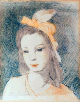 Color lithograph of a young woman.