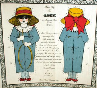 """Two Uncut Cloth """"Rag Toys"""": Little Lizzie and Jack."""