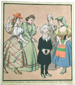 Original Watercolor of Henrik Ibsen and Four of his Heroines.