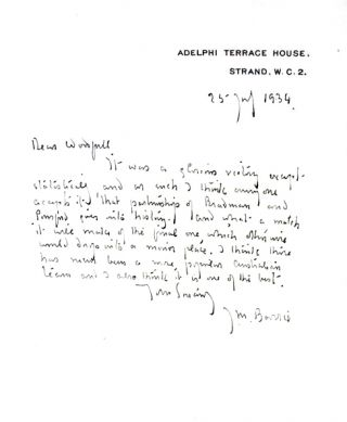 Autograph letter, signed. Together with: The Allahakbarries C. C. J. M. Barrie