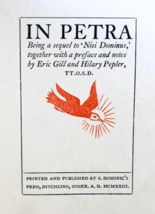 In Petra, being a sequel to 'Nisi Dominus'. Eric Gill, Hilary Pepler.