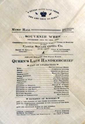 Theater program for Queen's Lace Handkerchief printed on lace handkerchief.