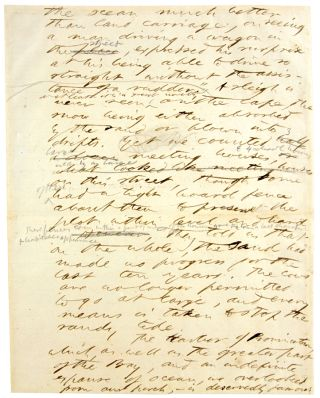 Manuscript leaf from Cape Cod. Henry David Thoreau.
