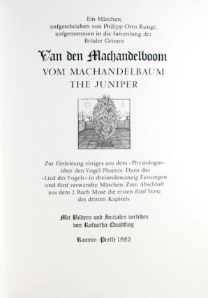 Van den Machandelboom. Ein Märchen. (The Juniper. A Tale by the Brothers Grimm).