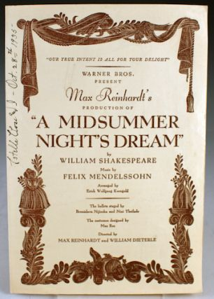 "Program from Max Reinhardt's Production of ""A Midsummer Night's Dream"" William Shakespeare"
