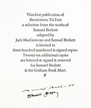 Beginning to End. A Selection from the works of Samuel Beckett.