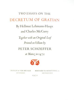 Two Essays on the Decretum of Gratian.