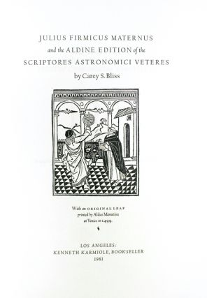 Julius Firmicus Maternus and the Aldine Edition of the Scriptores Astronomici Veteres.