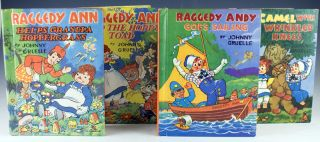 Raggedy Ann Helps Grandpa Hoppergrass. Together with: Raggedy Ann and the Hoppy Toad, Raggedy Andy Goes Sailing, and The Camel with the Wrinkled Knees.