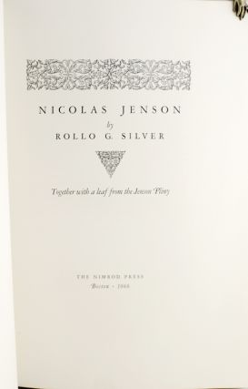 Nicolas Jenson. Together with a leaf from the Jenson Pliny.