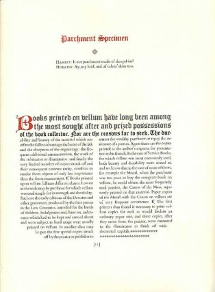 Mystique of Vellum. Containing an introduction by Dechard Turner and a historical essay on vellum printed books by Colin Franklin along with a manual to printing letterpress on vellum and parchment by Richard Bigus that's edited by Lester Ferriss.