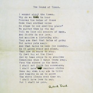 """The Sound of Trees"" carbon typescript with manuscript corrections. Robert Frost."