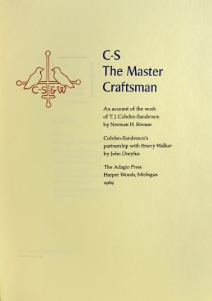 C-S, The Master Craftsman: An Account of the Work of T. J. Cobden-Sanderson.