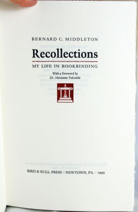 Recollections. My Life in Bookbinding.