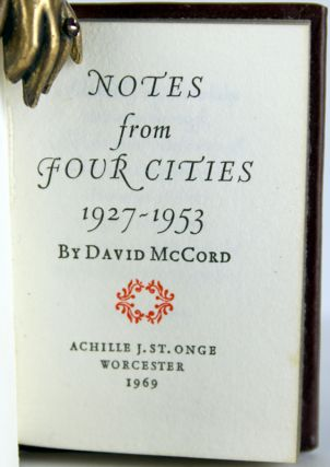 Notes from Four Cities, 1927-1953.