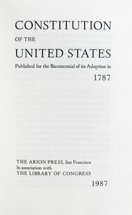 Constitution of the United States. Published for the Bicentennial of its Adoption in 1787.