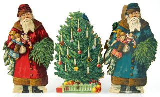 Christmas-themed die-cut paper doll set