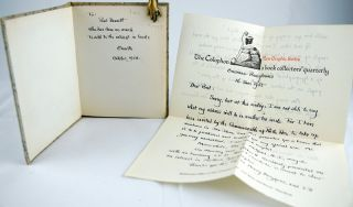 Autograph letter, signed. Together with: An Informal Talk by Elmer Adler at the University of...